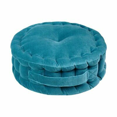 NEW CHILDRENS Quilted Round Velvet Luxe Floor Cushion - Antique Teal
