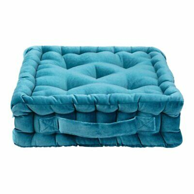 NEW CHILDRENS Quilted Square Velvet Luxe Floor Cushion - Antique Teal