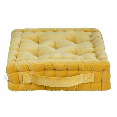 NEW CHILDRENS Quilted Square Velvet Luxe Floor Cushion - Mustard