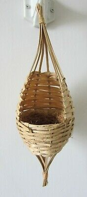 2  x  hanging nests  in wicker,  with coco lining. For various  small birds