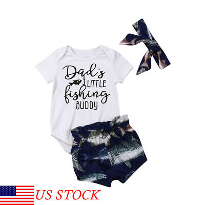 aceae520c Toddler Kid Baby Boy&Girl Clothes Buddy Romper Tops Fish Shorts Pants  Outfits US
