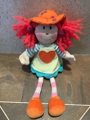 Elc Knitted Rag Doll Colourful Comforter Baby Soft Hug Toy Role Play 227584