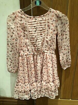 Next Girl Gorgeous Pink Robin Print Long Sleeve Floaty Pretty Dress Age 6 Years