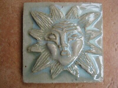 VINTAGE 9.5 cms MOULDED & GLAZED TILE - SUN FACE