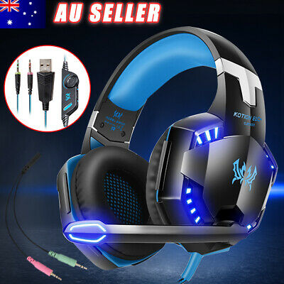 Gaming Headset MIC LED Headphones for PC Mac Laptop PS4 Xbox One 360 AU SHIP