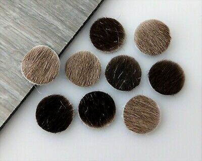 2pc Brown 12mm Hair On Cowhide Circle Cabochon Genuine Leather FBC191