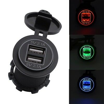 5V 2.1A Dual USB Charger Socket Adapter Outlet for 12V 24V Motorcycle Car WT