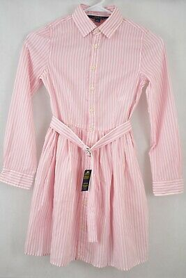 Polo Ralph Lauren Big Girls Striped Cotton Powder Pink White Shirt 10