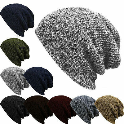 Mens Ladies Knitted Woolly Winter Oversized Slouch  Hat Cap skateboard C99