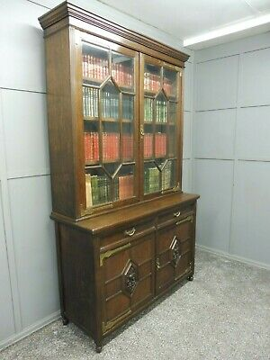 Large Oak Antique Arts And Crafts Bookcase