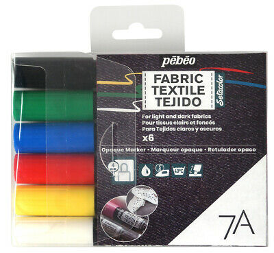 Pebeo 7A Fabric Paint Opaque Marker Assorted Colour Set of 6