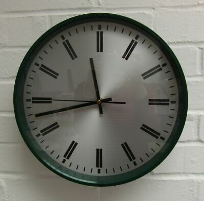 Midcentury 1970s Smiths Industrial Green Wall Clock Robert Welch Battery Working