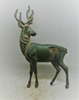 Ancient Celtic Bronze Deer Statuette Very Rare 100Bc-100Ad