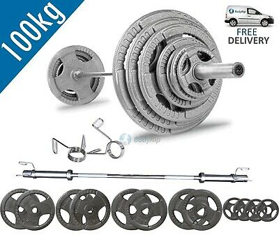 BodyRip Tri Grip Olympic Weight Plate Set 100KG with 5FT Barbell Bar Collars Gym