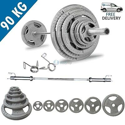 BodyRip Tri Grip Olympic 90KG Weight Set with 6FT Barbell and Collars Fitness