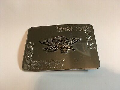 Vintage Brass Eagle on Silver Toned Belt Buckle