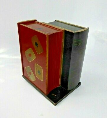Japanese Antique Novelty Lacquer Book Shaped Playing card Box 1930s Red & Black