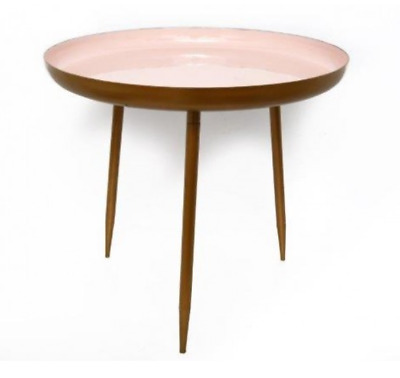 Clearance 50% Off Pale Blush Pink Copper Metal Side End Hall Lamp Coffee Table