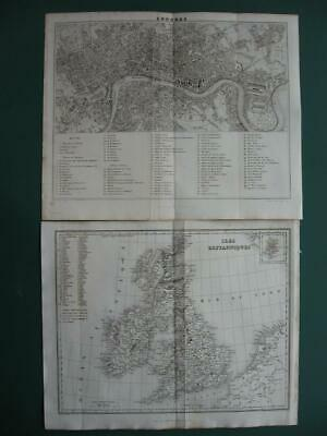 1838 - DUFOUR - BRITISH ISLES Small map & city plan LONDON