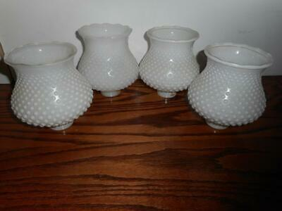 4 Vintage Milk Glass Hobnail Light Globe Chimney Shades