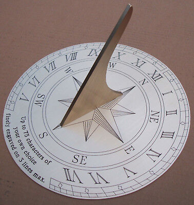 Large Personalised Sundial 29cm. Finely Engraved. Wedding Anniversary Birthday