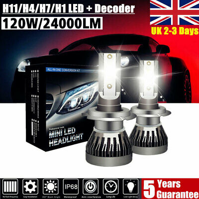 H1 H4 H7 H11 120W 24000LM Car LED Headlight Bulbs Kit 6000K Canbus Free Decoder