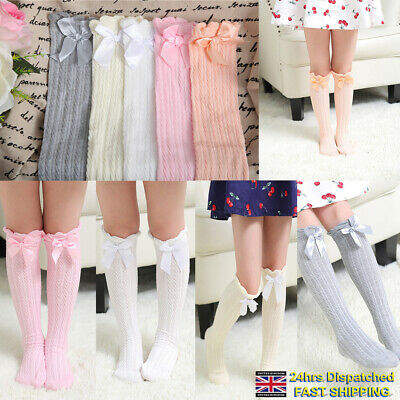 1366affd527 Toddler Kid Baby Girl Knee High Long Socks Bow Cotton Casual Stockings  School UK