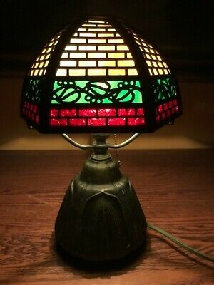 Bradley Hubbard Arts Crafts Mission Slag Glass Antique Lamp Handel Era