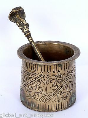 Old Brass Vintage Copper Inlay Work Indian Holy Water Pot With Spoon. G53-146 US