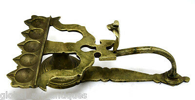 Vintage Old Handcrafted Brass Indian Worship Oil Lamp Diya with Snake. G53-96 US
