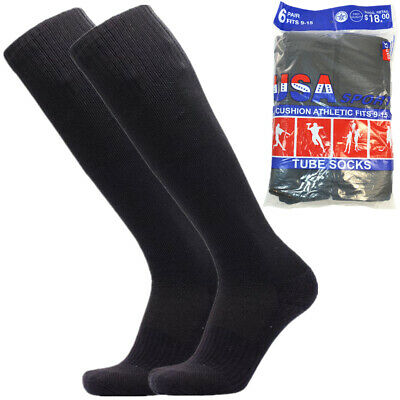 3,6,12 Pairs For Men Black Athletic Sports Cotton High Calf Tube Socks Size 9-15