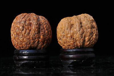 Lot Noix Sculptée Chine N°2 Hediao Antique Chinese Carved Nuts Walnuts signed