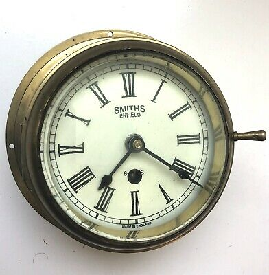 Smiths Enfield Ships Brass Wall Clock - Original Vintage With Key
