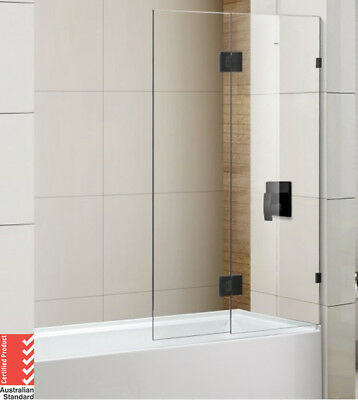 10mm Over Bath Screen Fixed & Swing Panels 900/1000x1500mm (Matte Black)