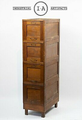 Antique Modular Wooden File Cabinet