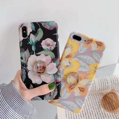 New Retro Korea Style Flowers Ring Phone Case Cover For iphone 6 7 8 Plus XS XR