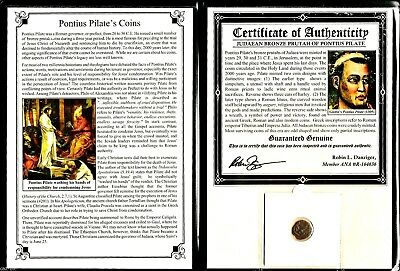 Pontius Pilate Coin with Album Story and Certificate,Judean Bronze Prutah