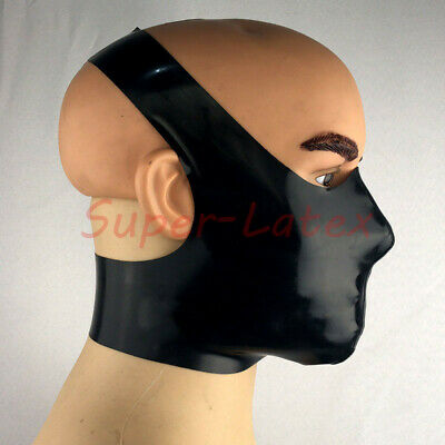 Latex Rubber Gummi Cross Mouth covering Mask customized catsuit cool 0.4mm
