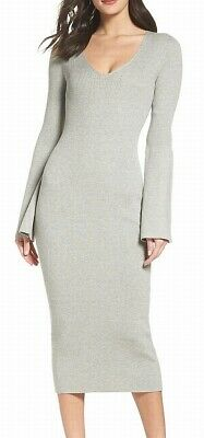 fcc9337c4136 French Connection NEW Gray Womens Size 6 Virgie Knit Midi Sweater Dress  $128 362