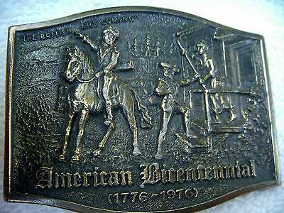 American Bicentennial 1776-1976 Brass Belt Buckle 3-1/4 By 2-1/2