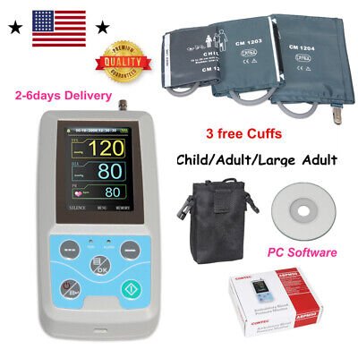 24h NIBP Holter Ambulatory Blood Pressure Monitor ABPM50 SW,free 3 Cuffs,US ship