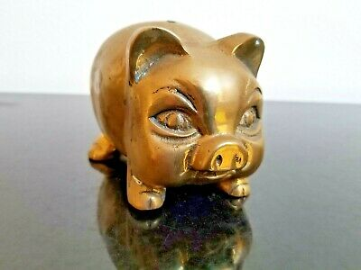 Rare Collectible Vintage Solid Brass Traditional Piggy Bank Made in Taiwan ROC
