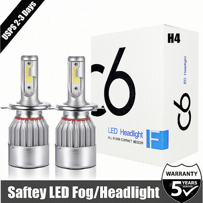 2x H4 LED Headlight 9003 HB2 High/Low Beam Light 50W 12000LM Driving White 6000K