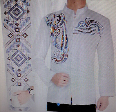 Men's Arab Fusion Embroidery Modern Batik shirt XL ,17.5 ~ Indonesia