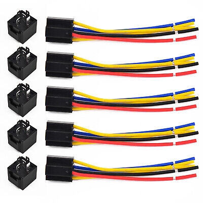 5x 12v 12 Volt Dc Amp Relay & Socket Spdt 5pin 5 Wire 40a For Car Vehicle Auto