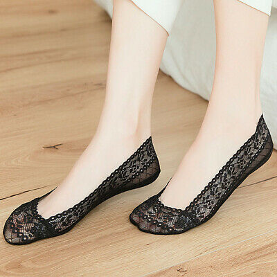 5Pairs Women Ladies Skin Shoe Liners Non-slip Invisible Thin Lace Boat Socks