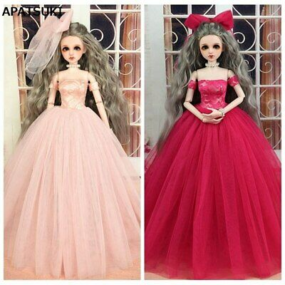 High Quality Doll Dress & Veils Wedding Dress for 1/4 BJD Doll Clothes Kids Toy