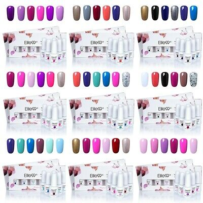 Elite99 6 Colors Set Soak Off UV Gel Nail Polish Top Base Coat Manicure AU STOCK