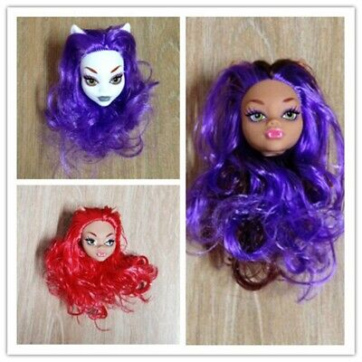 Toy Demon Monster Doll Head with Purple Red Hair Accessories For Monster High