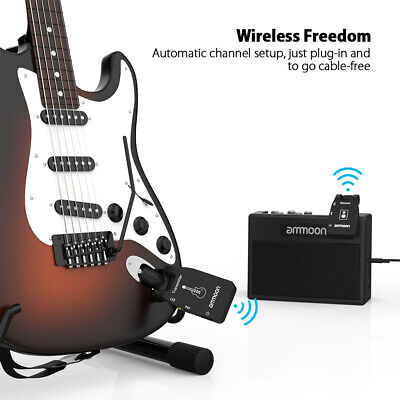 Ammoon Wireless Guitar System 2.4G Rechargeable Audio Transmitter Receiver O0F7